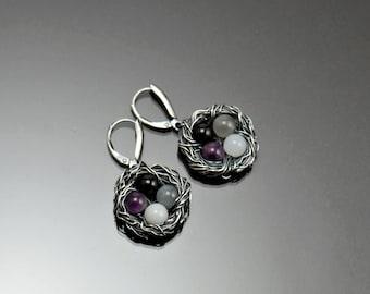 Bird nest earrings, sterling silver, Pride jewelry