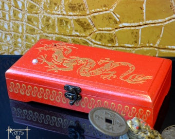 """Cash Box """"Dragon Feng Fhui"""", Chinese character meaning wealth, Feng Shui gifts,Wooden money box, Upright Money box, hieroglyph Wealth"""