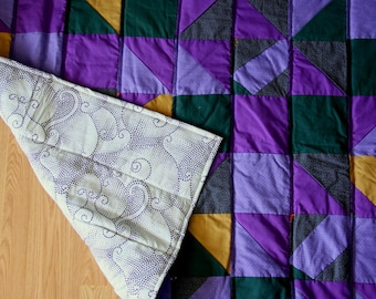 Purple and Gold Patchwork Baby Quilt