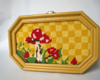 Vintage Wood Box Purse Bag in Yellow With Wool Needlepoint Insert / Mushrooms