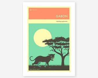 GABON TRAVEL POSTER (Giclée Fine Art Print/Photo Print/Poster Print) by Jazzberry Blue