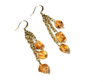 Pale Amber Glass Nuggets Gold Earrings Extra Long Waterfall Earrings Hypoallergenic Earrings Nickel Free Earrings Cascading Beaded Jewelry