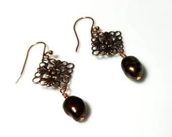 Copper Freshwater Pearl Earrings Dangle Drop Beaded Jewelry Diamond Shaped Antiqued Copper Connector Link Earrings Gifts for Her