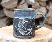 75 Pitch Pine Pottery Art Nouveau Stoneware Luna Moon Mug - Northern Lights - 16 oz