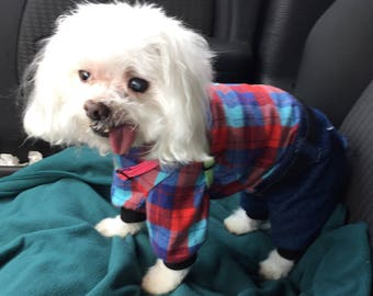 Dog Onesies, XS S M L - Country Plaid Flannel top, denim bottoms, red blue top, Pet Onesie Fashion Dog Clothes