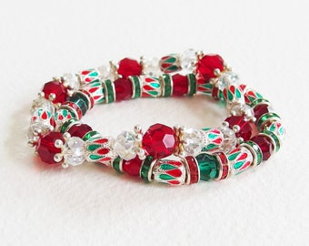 Duo of Bracelets India - the rich hours of Rajasthan - glass beads and enameled beads - designer jewelry, handmade, unique piece