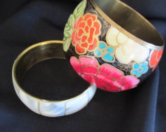 Vintage brass cuffs (2) with painted flowers and mother of pearl inlay.