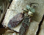 organic rustic jewelry, Petroglyph earrings with phrenite, asymmetrical earrings, assemblage jewelry, unique artisan ceramic, AnvilArtifacts
