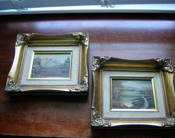 Vintage wall art ornate gold frames 2 pc set mountains lakes 8x9x1.5 inches wood frame oil on canvas