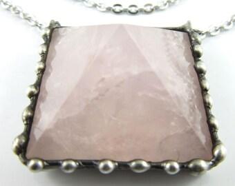 the temple of venus - rose quartz crystal pyramid pendant