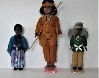 3 Vintage Native American Indian dolls, sleep eye, girls room, beaded, fringed leather costumes, original stands, souvenir dolls, gift idea