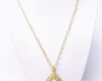 Gold Plated Tear Drop w/Clear & Green Rhinestone Pendant Necklace