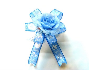 Its a Boy Baby bow, Baby boy gift bow, New baby bow, Blue baby shower bow, Gift for new moms, Gift wrapping bow, Large gift bow