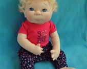 "Fretta's OOAK life size 48 cm / 19"" Soft Sculpture Baby.  Blonde Hair, Blue Eyes. Child Safe Textile Baby Doll. Empathy Doll"