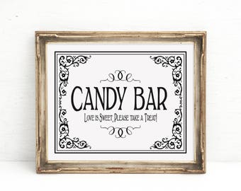 Candy Bar Sign, Candy Buffet sign, Candy Bar print, Sweets Table, Candy Bar, wedding prints Bridal Shower Candy Buffet, Baby Shower Candy