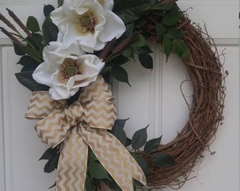 Cream Magnolia Grapevine Wreath with Chevron Ribbon