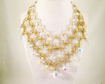 Crystal Necklace Aurora Borealis Vintage Drape Necklace Wedding Necklace Gift for Her Gift for Bride