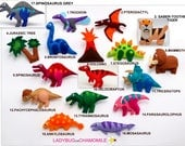 DINOSAURS felt ornaments, toys, Magnets, cake toppers - Price per 1 item, Dinosaur toy, T-Rex, Brontosaurus, Raptor, Mammoth