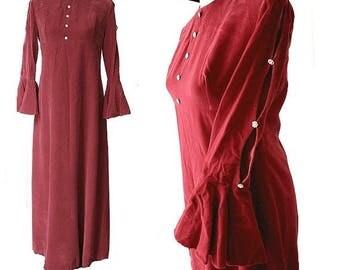 1960 Velvet raspberry long dress  bell sleeves & rhinestone
