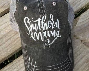 Southern Mama Hat // Southern Hat // Mama Hat // Mom gift idea // Trucker Hat // Distressed Hat // Southern gift idea