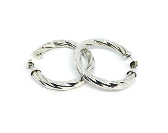 925 Silver Earrings | Sterling Silver Hoops | Vintage Earrings | Twisted Hoops | Chunky Hoop Earrings | Classic Silver Earrings