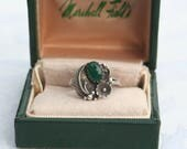 FREE SHIPPING Vintage Silver Dark Green Onyx Stone Native American Style Ornate Ring