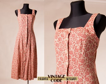 Laura Ashley  Cotton Linen 90s dress /  Button down dress / 90s Grunge Maxi Sun dress Strap dress /  size small to  medium