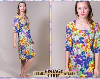 Bright Floral Dress  / Flower dress / Flod floral print  / Sheer Boho dress / 60s 70s vintage dress  / size medium