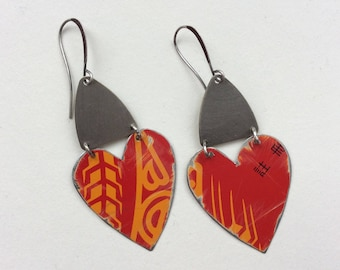 Upcycled Tin Heart Earrings, Repurposed, Red, Silver Tone Findings, Valentine's Day