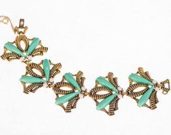 Iconic Schiaparelli Bracelet INSECT Jewelry Turquoise Blue Bracelet SIGNED