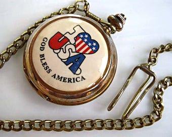 Pocket Watch Pendant, Louis Jordan Signed, I Love USA, God Bless America, Patriotic Pop Art Red White Blue Heart Flag, Biker Gift