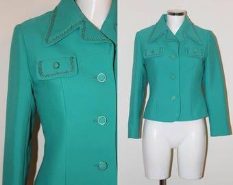 Vintage 1960s Green Designer Mod Jacket by Clevaline