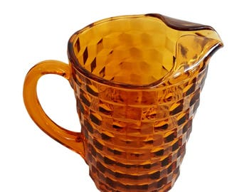 Vintage Amber Drink Pitcher / Whitehall Pattern / Indiana Glass / Ribbed Handle / Ice Catcher