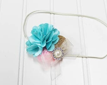CLEARANCE 40% OFF Darling headband in fun colors of aqua, pink gold and cream   (RTS)