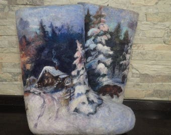 Winter felt shoes Felted boots Russian style Women VALENKI  painting Filzstiefel Wool footwear Boho volk style Warm woolen shoe