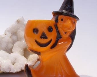 Rosbro Plastic Witch and Pumpkin Vintage Halloween Candy Holder Providence Rhode Island