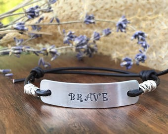BRAVE--leather bracelet--hand stamped--adjustable--wire wrapped--motivational--slide--daily reminder--silver--religious jewelry--survivor