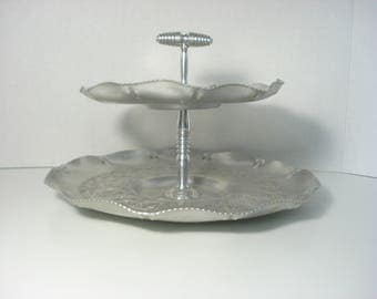 Vintage Two Tiered Silver Plate- Cup Cake High Tea -  Aluminum Retro Barware / Servingware