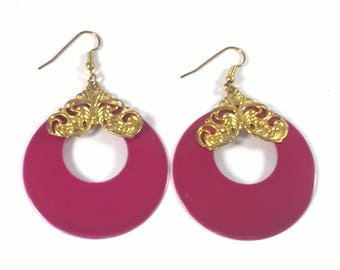 Vintage Large Fuschia Pink Circle Earrings  - Retro Fashion Jewelry See Through - 1980s