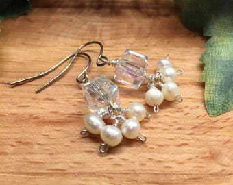 Earrings, Clear AB square Crystal cube, Four hand wire wrapped White pearls, Silvertone, Hook Ear wire, Free shipping, USA, #136