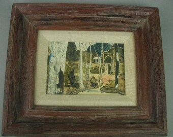Vintage Watercolor Painting, Original Frame, House in the Woods, Small Painting, Signed Painting, Dated 1970