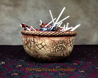 FOOTED BOWL/PLANTER - This unique bowl is an original, one of a kind, hand sculpted & altered bowl, made of glazed stoneware clay.