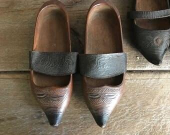 Antique Folk Art Clogs, Artisan Wood Leather Clogs, French, Dutch