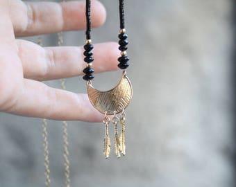 Long boho necklace, Boho feather necklace, Crescent moon necklace, Gold feathers necklace, Gypsy feather necklace, Gold feathers necklace