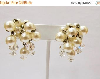 ON SALE Vintage Faux Pearl and Aurora Borealis Dangle Cluster Earrings Item K # 2787