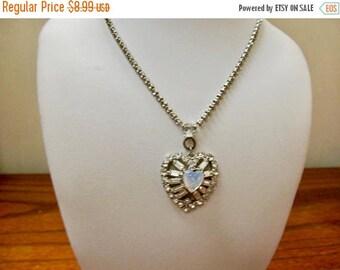 ON SALE Vintage Rhinestone Heart Necklace Item K # 549