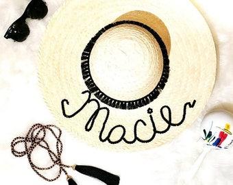 Custom straw hat Customized Name Hat/Tan Hat/Floppy Hat/Straw Hat/Sun Hat/ Beach Hat/ Summer hat/ Personalized hat/ Bride/ Bachelore