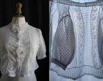 Vintage. Delicate white blouse, Valenciennes laces and lawn, balloon sleeves, small size