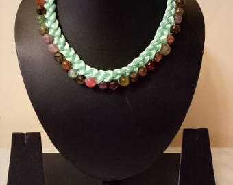 Indian Jewellry,     thread necklace , bollywood necklace,  adjustable Indian necklace choker, pastel green thread with semi precious stones