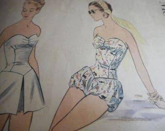 Vintage 1950's McCall's 3165 Bathing Suit with Bloomers or Skirt and Trunks Sewing Pattern Size 14 Bust 32